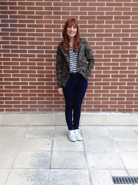 stripes with camouflage print