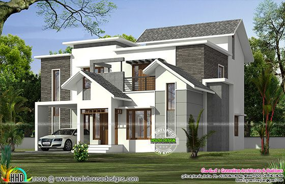 2653 sq-ft modern mix roof home plan