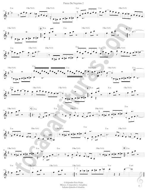 2 Fiesta de Negritos Porro de Lucho Bermúdez Partitura Fácil con Acordes Fiesta de Negritos Easy Sheet Music with Chords