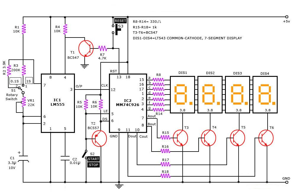 digital stop watch - simple projects 7 segment clock circuit diagram draw and explain circuit diagram for bcd to 7 segment display decoder