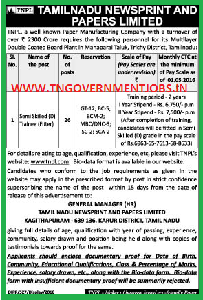 TNPL Trichy Recruitment of ITI Fitter Trade holders for Trainee Post