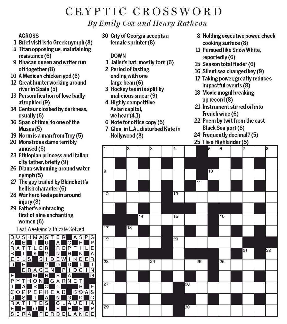 National Post Cryptic Crossword Forum Saturday March 23 2019 It S All A Myth