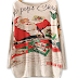 PERSUN Women Beige Bat Sleeve Letter and Santa Claus Knit Sweater