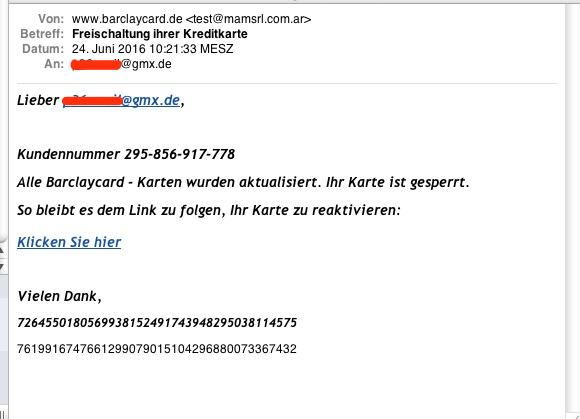 Vorsicht Email