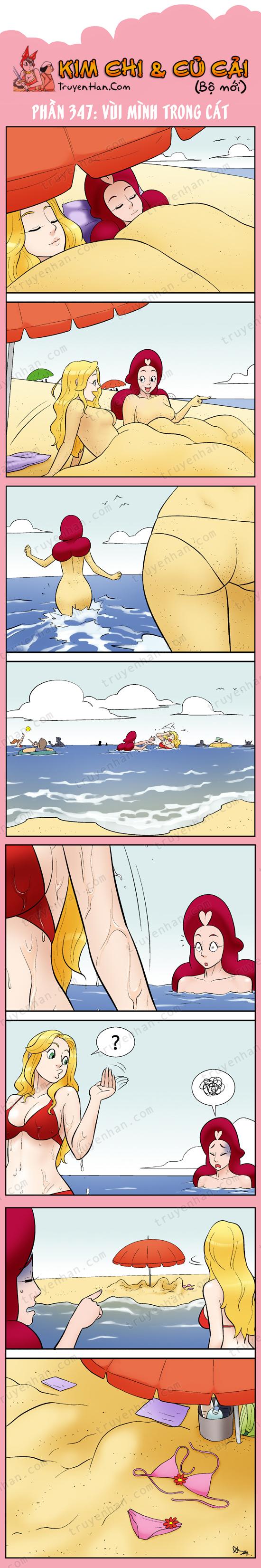 Kim Chi & Củ Cải (bộ mới) phần 347: Vùi mình trong cát