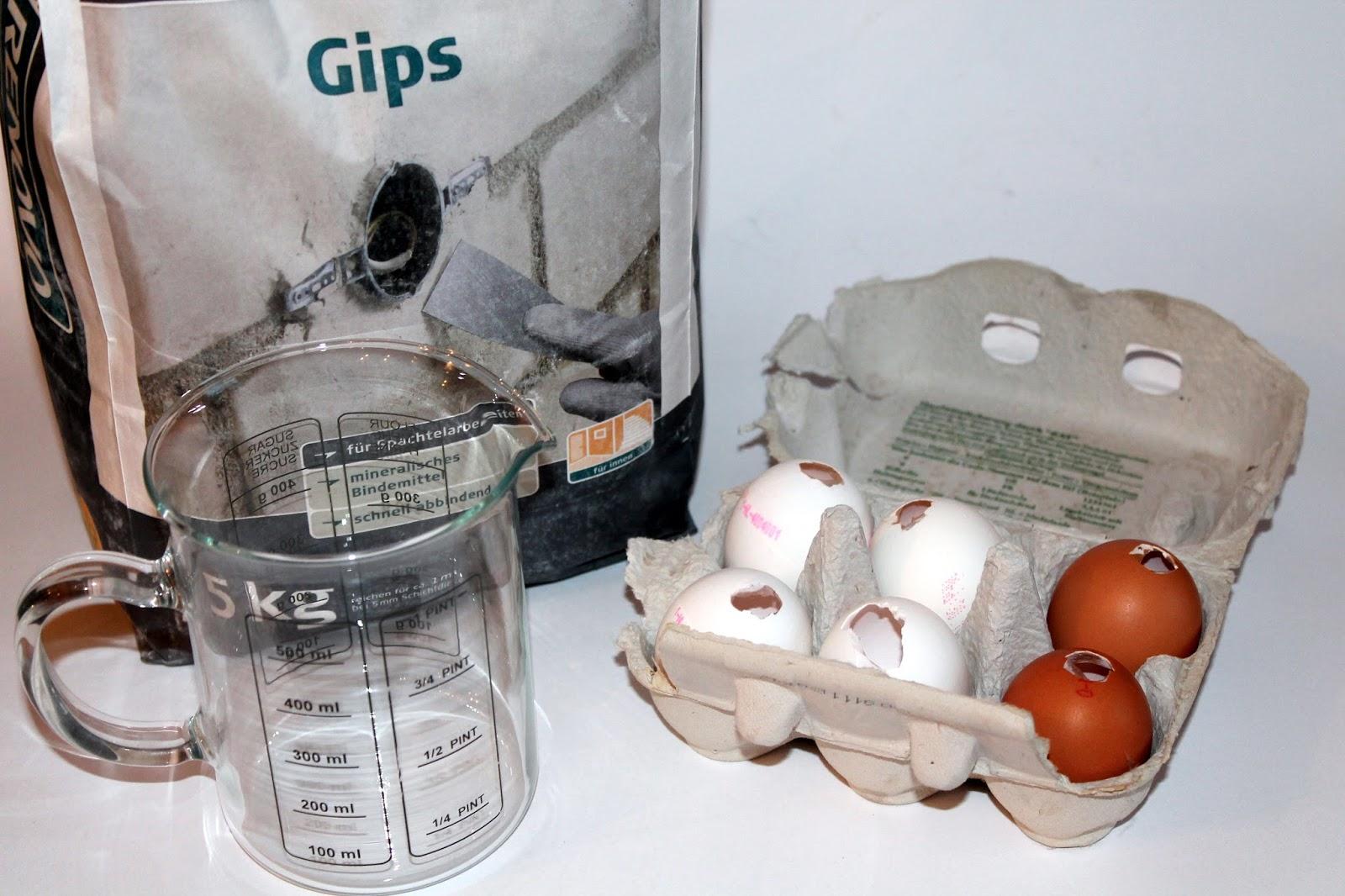 DIY, Basteln: Gips / Beton Eier als Osterdekoration, Dekoration - DIYCarinchen