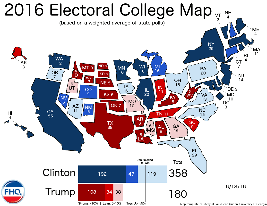 Frontloading HQ The Electoral College Map 61316