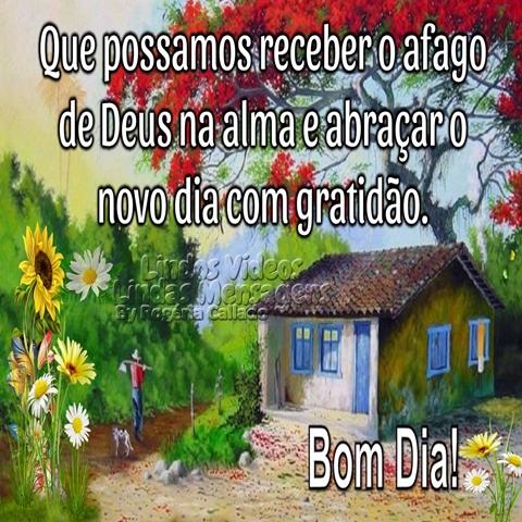 Que possamos receber o afago  de Deus na alma e abraçar o  novo dia com gratidão.  Bom Dia!