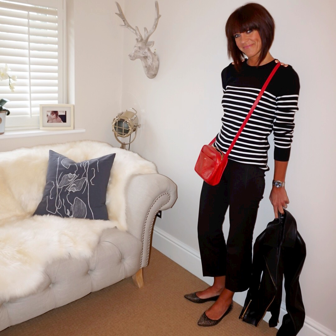 my midlife fashion, petit bateau cotton striped jumper, uterque mock croc cross body bag, j crew cropped kick flare sammie trousers, boden studded flats, baukjen everyday biker jacket