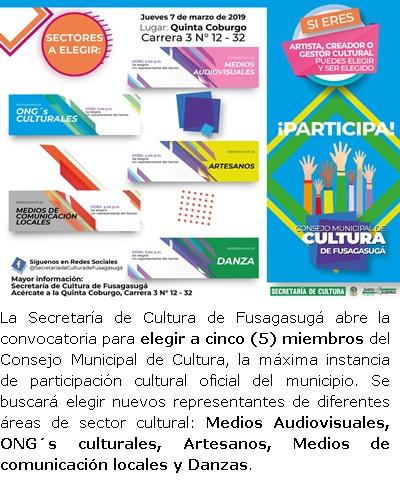 FUSAGASUGÁ: Abierta convocatoria para elegir miembros del Consejo Municipal de Cultura