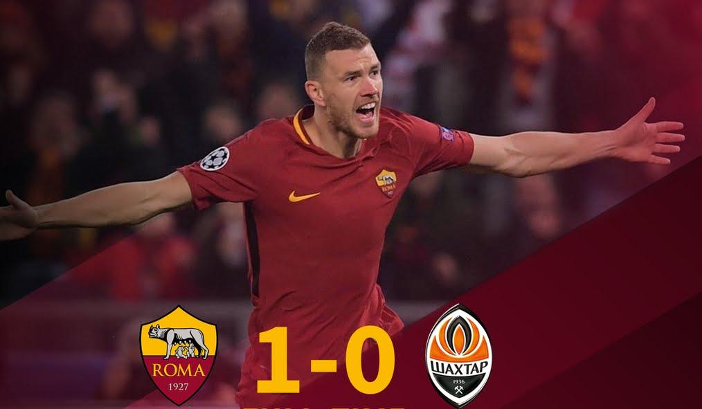 Champions: Roma ai quarti con la Juventus, vittoria 1-0 sullo Shakhtar all'Olimpico con Dzeko