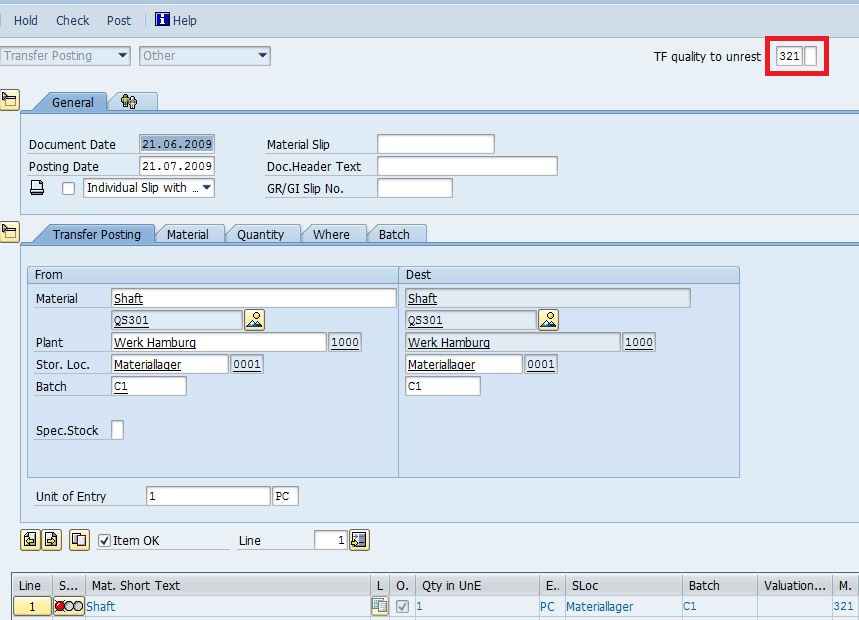SAP Sample Programs: MIGO post document