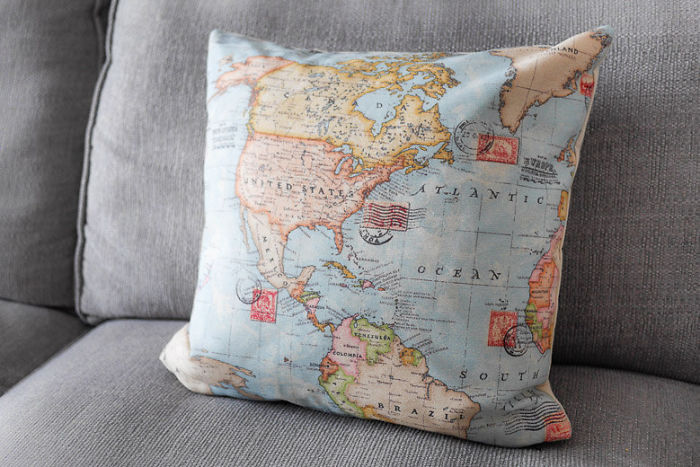 15+ Of The Best Traveler Gift Ideas Besides Actual Plane Tickets - World Map Pillow