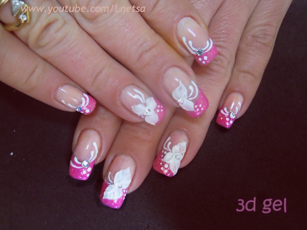 Lnetsa S Nailart French Manicure With 3d Gel Decoration