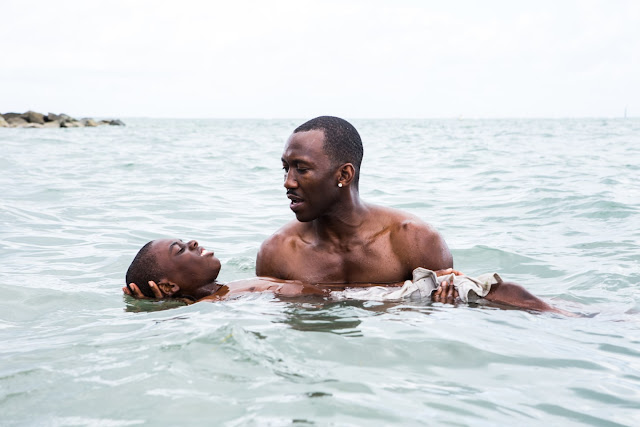 "Alex Hibbert and Mahershala Ali in Barry Jenkins' ""Moonlight"""