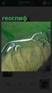 На местности сделан рисунок геоглиф белым цветом на зеленой траве