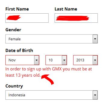 Usia minimal pada saat membuat email dengan GMX