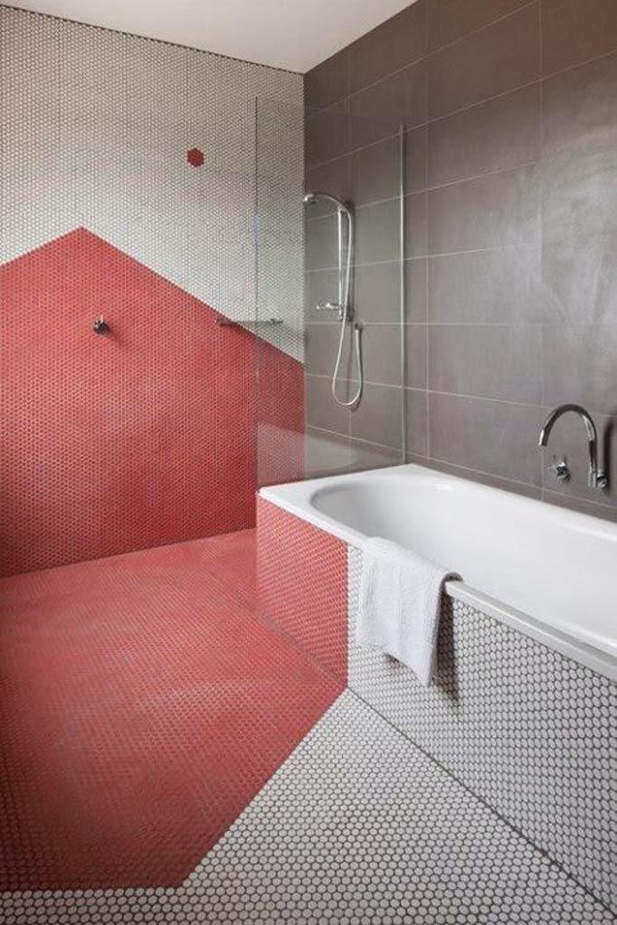 To da loos pink bathrooms yes pretty ones - Penny tile bathroom floor ...