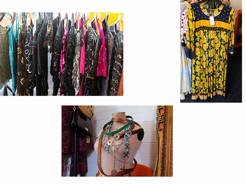 vintage sequin tops and dresses, vintage sunflower print smock dress and vintage belts