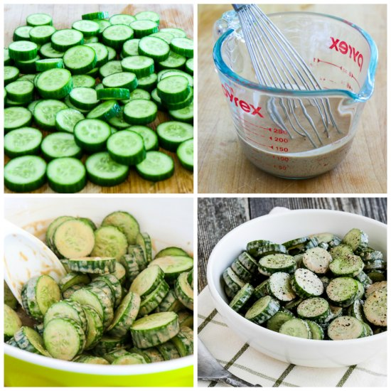 Low-Carb Cucumber Salad with Easy Balsamic Dressing found on KalynsKitchen.com