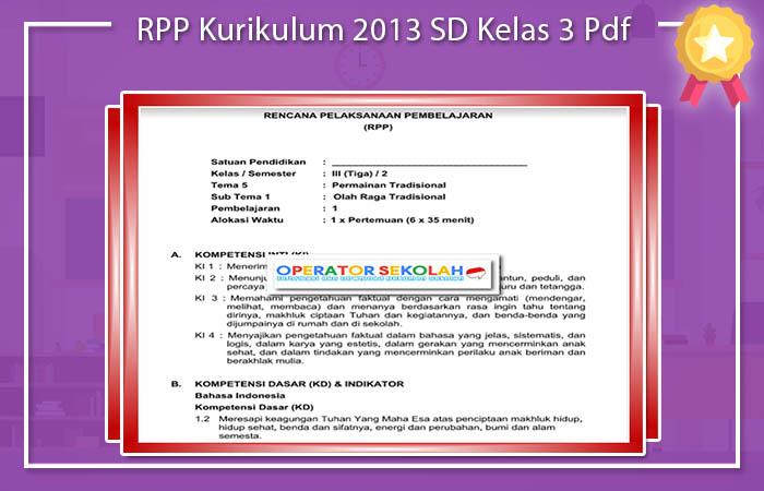 RPP Kurikulum 2013 SD Kelas 3 Pdf