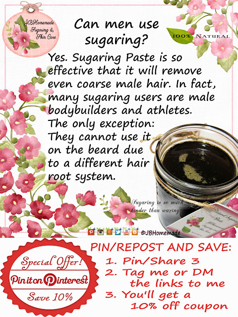 Can men use sugaring? Yes. Sugaring Paste is so effective that it will remove even coarse male hair.  The only exception: They cannot use it on the beard due to a different hair root system.