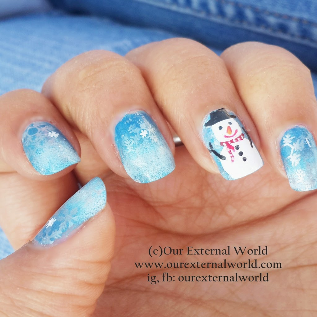Winter Nail Art Tutorial - How To Make A Snowman, free hand, stamping, sponging, snowflakes