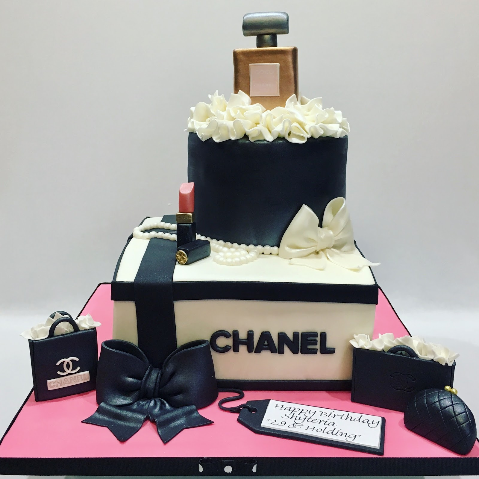Mymonicakes Chanel Gift Box Cake With Perfume And Make Up Sculptures