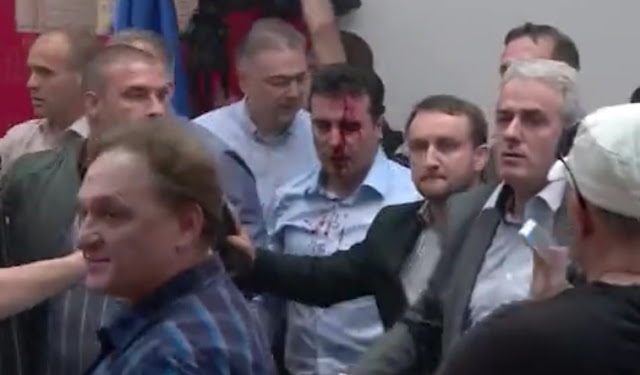 Macedonian Protesters attack leaders of new Majority, Ziadin Sela seriously wounded