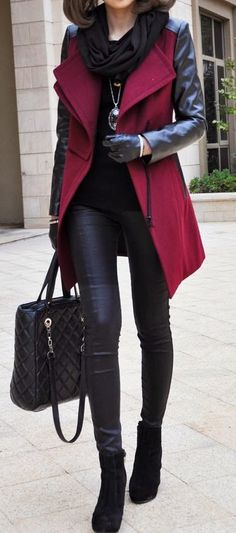 fashion trends| black scarf + coat + bag + top + boots + leggings