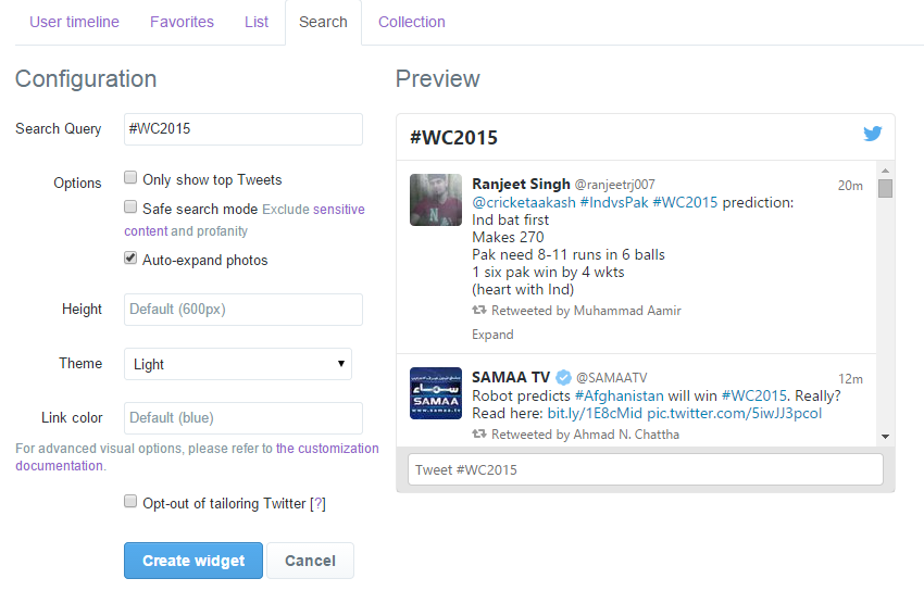 twitter hashtag widget for your blog