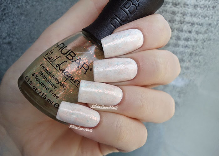 White Opal saran wrap nail art