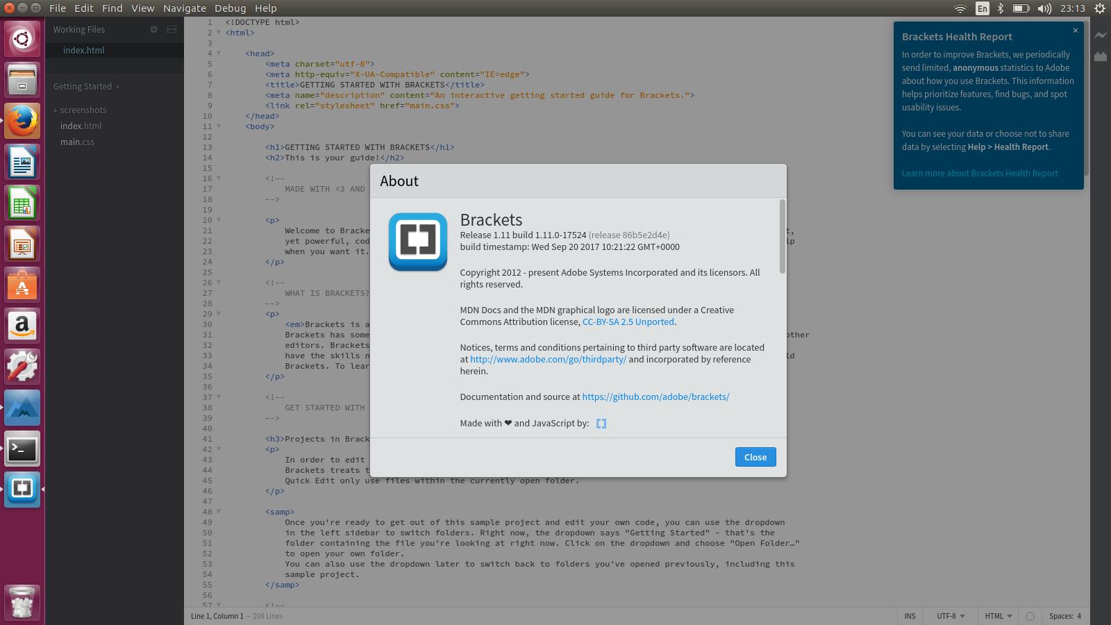 How to install program on Ubuntu: How to install Brackets 1 11 on