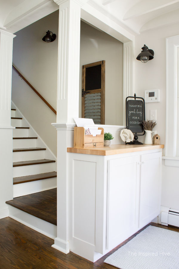 Farmhouse entryway drop zone