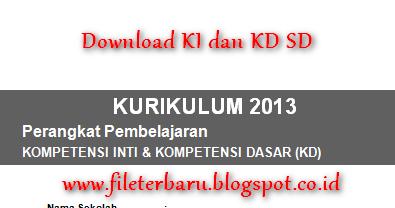 Download Ki Dan Kd Sd Kurikulum 2013 Lengkap Bisa Edit Format Word File Terbaru