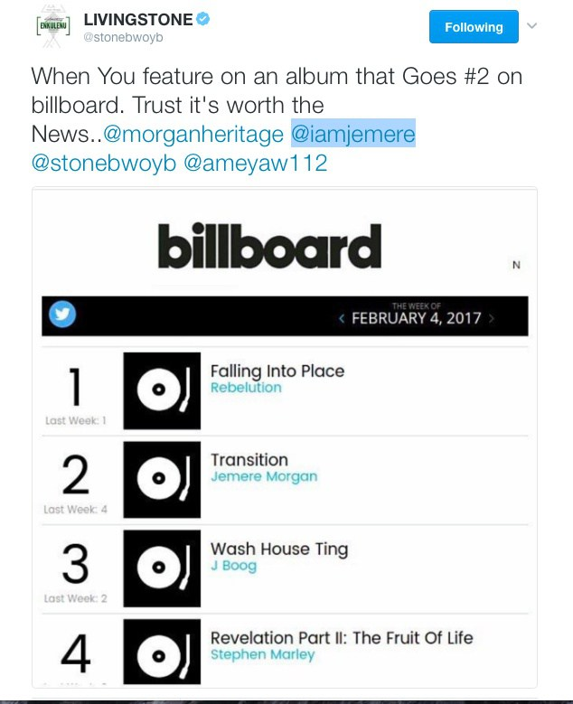 Jemere Morgan's 'Transition' album featuring Stonebwoy now number 2 on Billboard Reggae chart