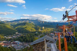 Gatlinburg, Chairlift, mountains, Great Smoky Mountains