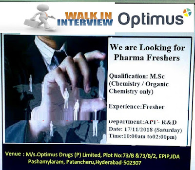 Optimus Drugs Walk In Drive For Freshers at 17 November