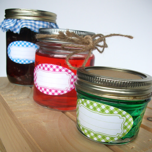 Bright Gingham Oval Mason Jar Labels