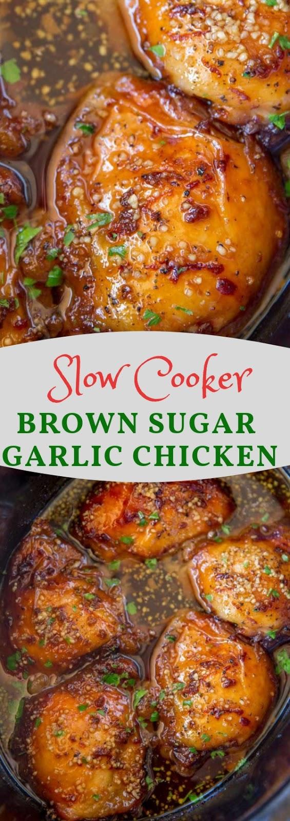 Slow Cooker Brown Sugar Garlic Chicken  #maincourse #slowcooker #chicken