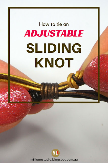How to Tie and Adjustable Sliding Knot project sheet with close up detail of the sliding leather knot.