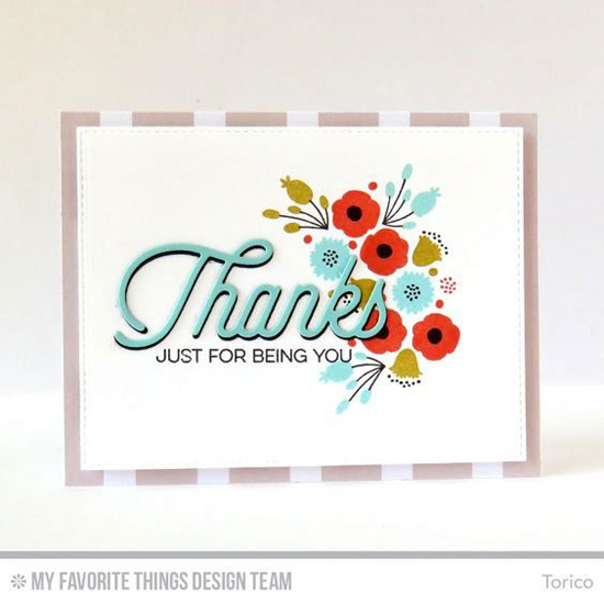 Handmade card from Torico featuring Kind Thanks and Beautiful Blooms stamp sets and Twice the Thanks and Blueprints 24 Die-namics #mftstamps