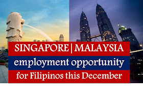 The following are jobs approved by POEA for deployment to Singapore and Malaysia. Job applicants may contact the recruitment agency assigned to inquire for further information or to apply online for the job.  We are not affiliated to any of these recruitment agencies.   As per POEA, there should be no placement fee for domestic workers and seafarers. United States, New Zealand, and Canada are also among the countries exempted from paying placement fee. For jobs that are not exempted on placement fee, the placement fee should not exceed the one month equivalent of salary offered for the job. We encourage job applicant to report to POEA any violation on this rule.