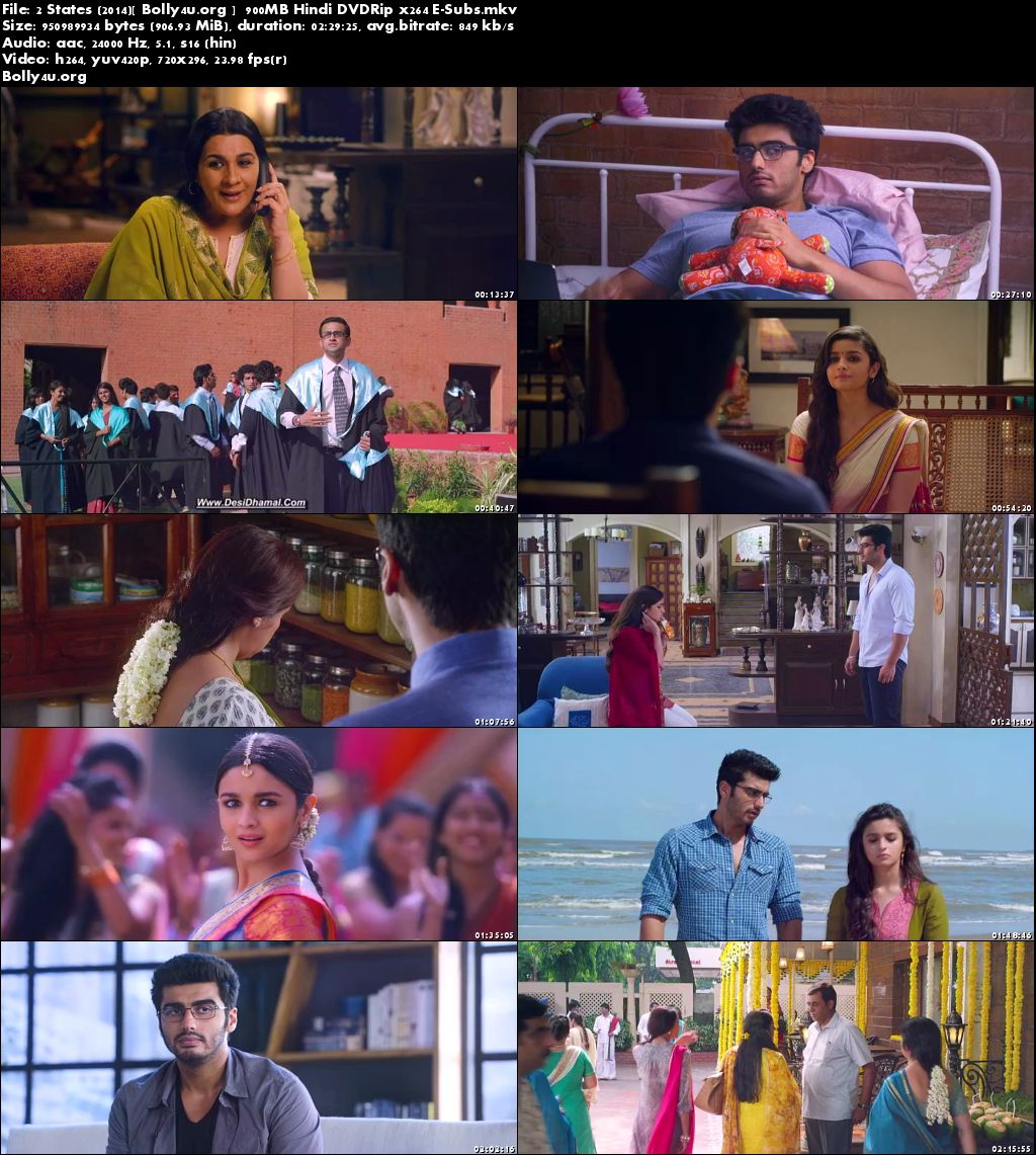 2 States 2014 DVDRip 900MB Full Hindi Movie Download Subs