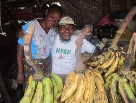Corper Shows Off Mother who Sold Plantain to Educate Him