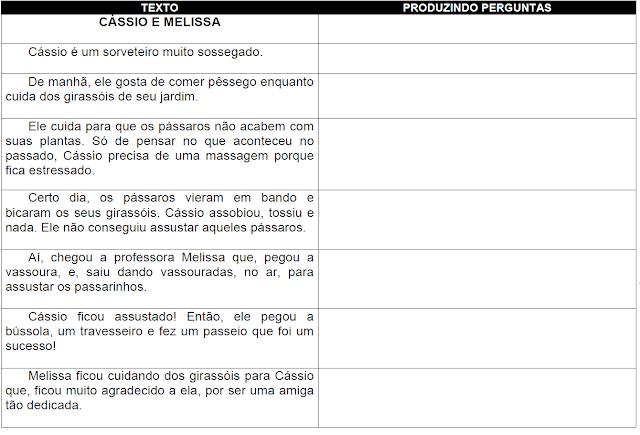 Produzindo perguntas a partir do texto CÁSSIO E MELISSA