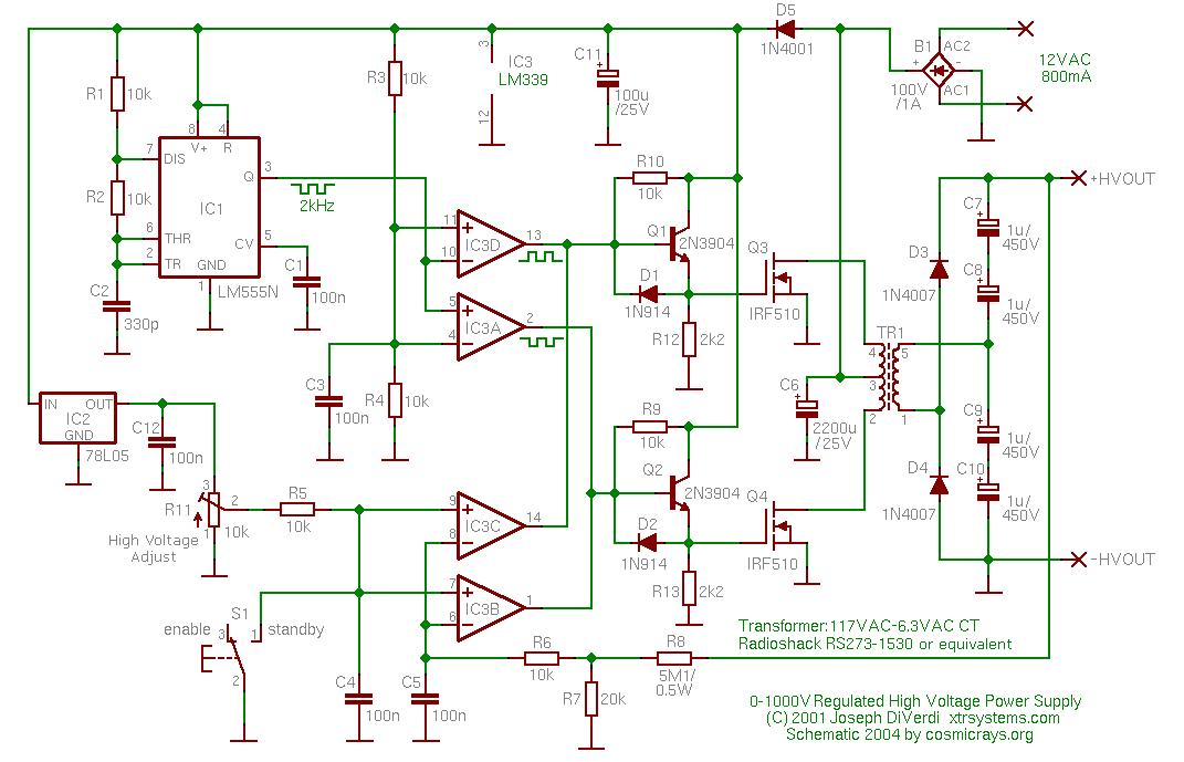 1000 Volt Dc To Dc Regulator Circuit