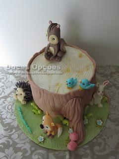 bolo animais floresta bragança doces opções
