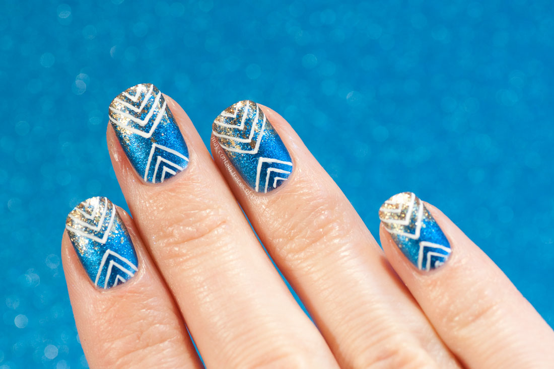 Blue and Gold Geometric design nail art