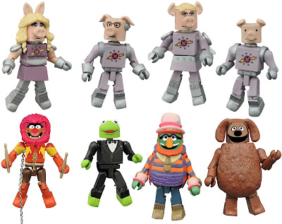 Toys R Us Exclusive The Muppets Minimates Series 2.5 by Diamond Select Toys - First Mate Piggy, Dr. Julius Strangeport, Link Hogthrob, Swine Trek Crew Member, Reporter Kermit the Frog, Animal, Dr. Teeth & Rowlf